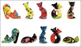 Les Chats Design - 10 Fèves Brillantes - Alcara - 2011