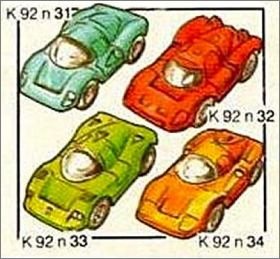 Voitures de course - Kinder surprise K92-31 à K92-34